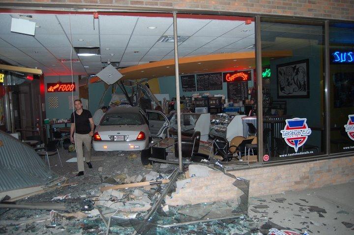 Blacktop Cabs Drives Into Cafe