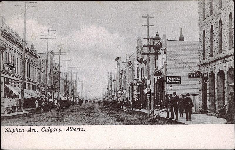 Historical Calgary Stephen Avenue Postcard