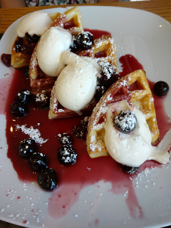 Brunch In Calgary Vendome Waffles With Blueberries