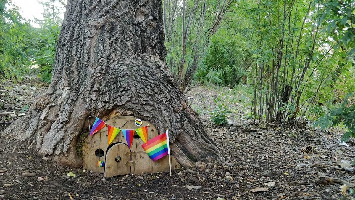 Riley Park Tree House Rainbow Pride Flags
