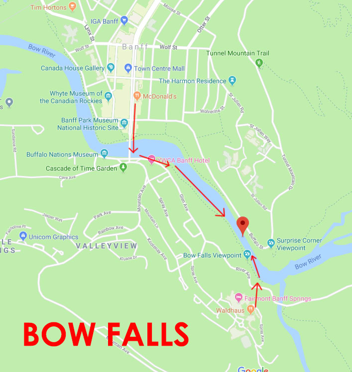 Banff Without A Car Bow Falls Map