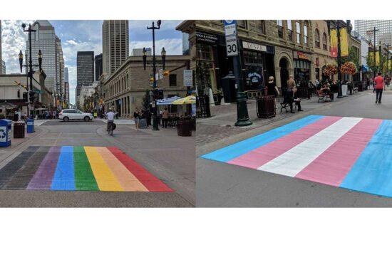 The LGBTQ+ Rainbow & Trans Flag Crosswalks In Calgary