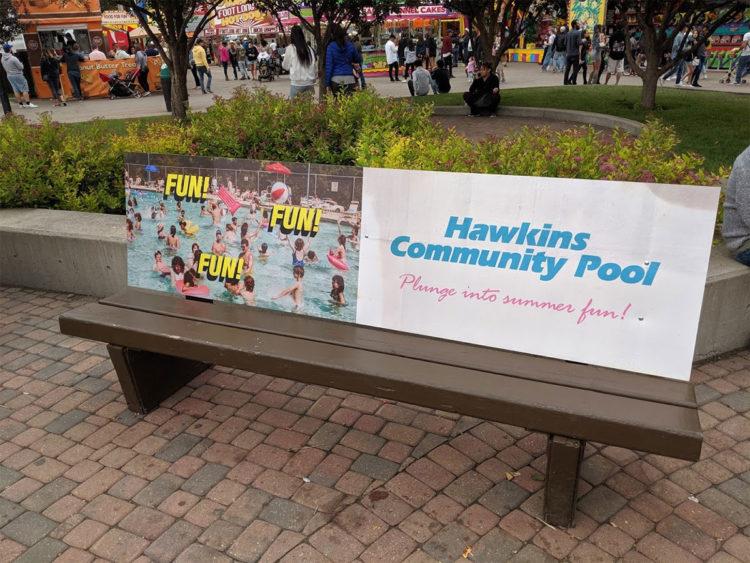 Stranger Things Calgary Stampede Hawkins Community Pool Bench