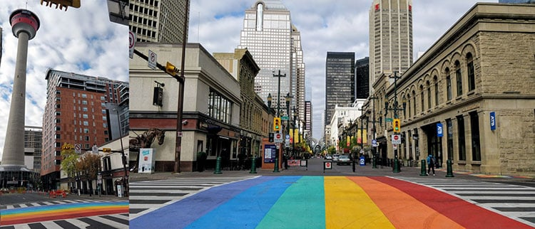 Rainbow Flag Crosswalk on Stephen Avenue in Calgary 2016