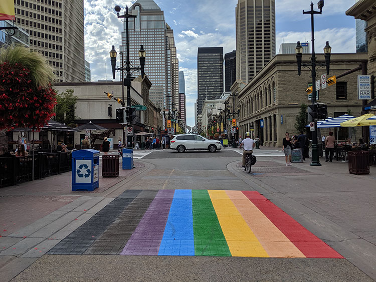 Rainbow Flag Crosswalk on Stephen Avenue in Calgary