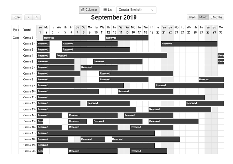 Karma Campervans booking system calendar view