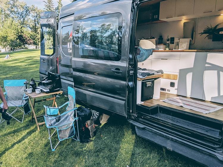 Karma Campervans camping setup