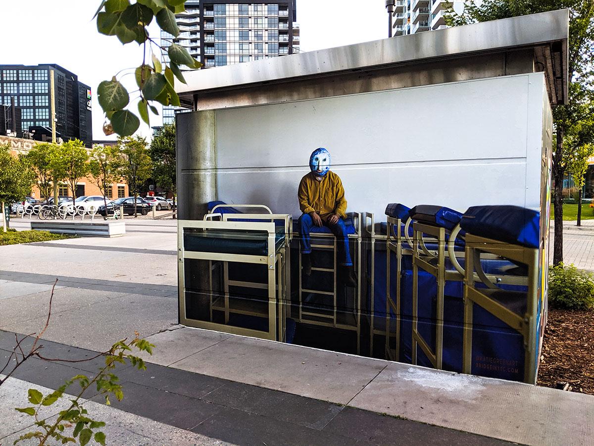East Village Mask Mural Blue bunkbeds