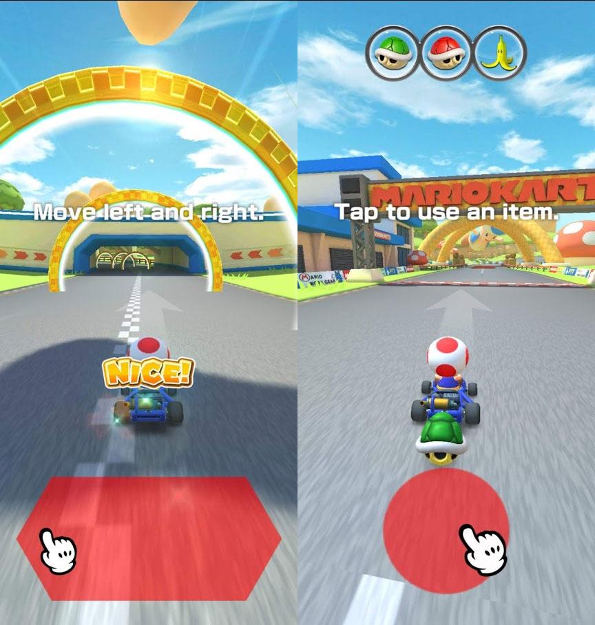 Mario Kart Tour controls swipe left right
