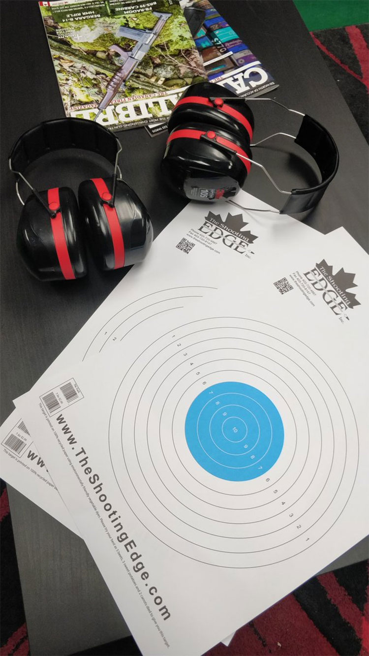 Scotch and shoot targets and ear protection