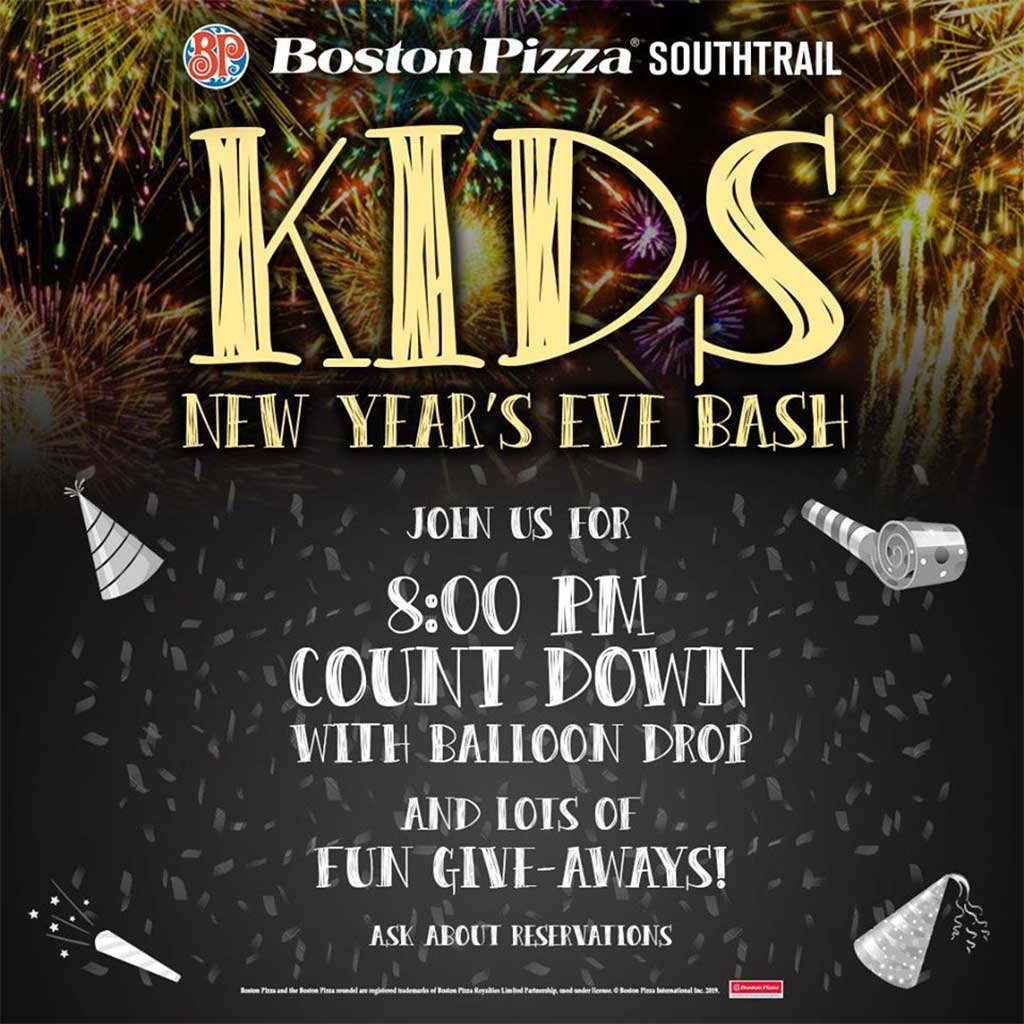 Things To do in Calgary for New Years Eve 2020 Boston Pizza Kids New Years Eve Bash