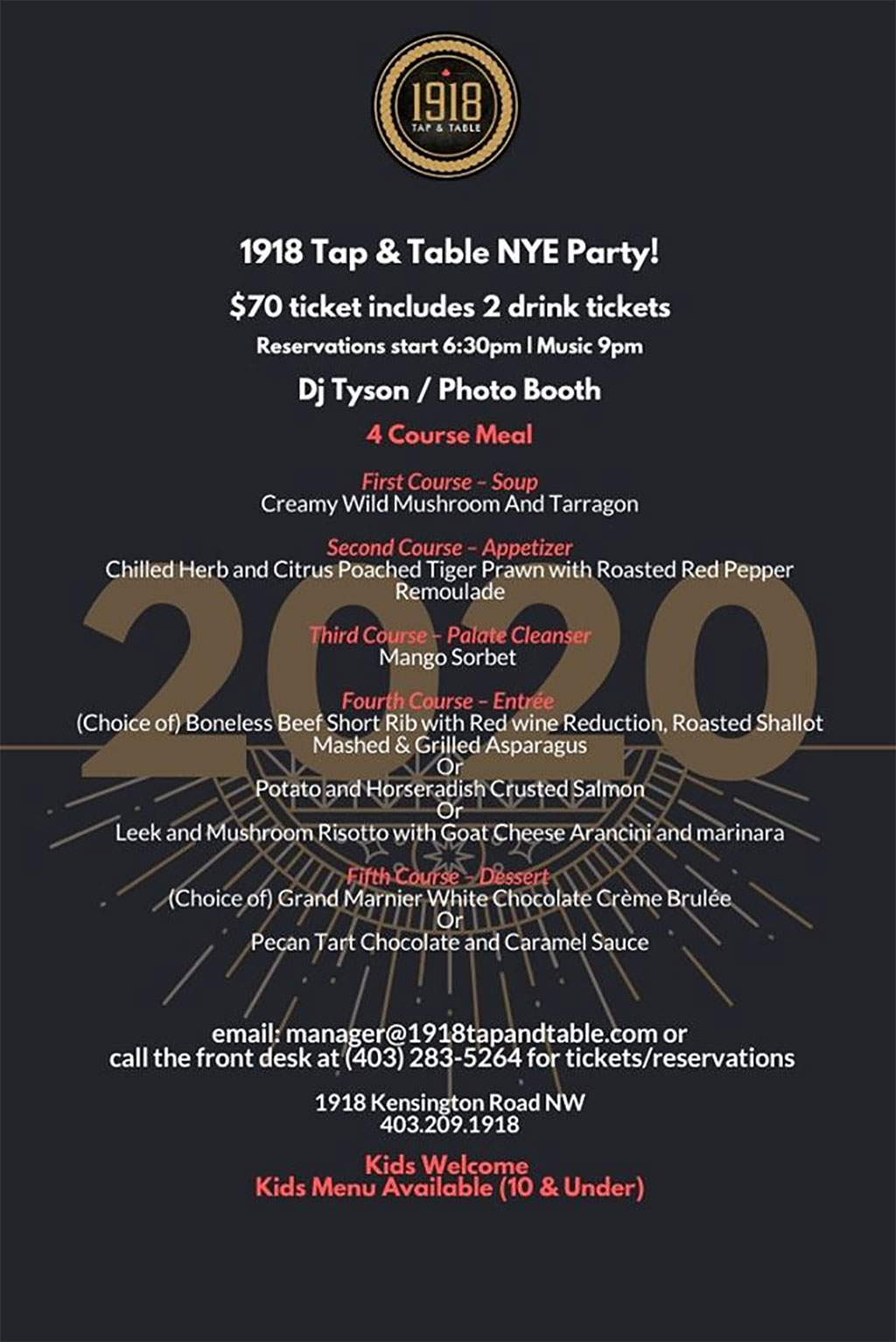 Things To do in Calgary for New Years Eve 2020 1918 Tap and Table