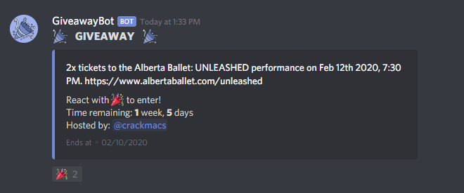 Win tickets to Alberta Ballet: UNLEASHED on Discord