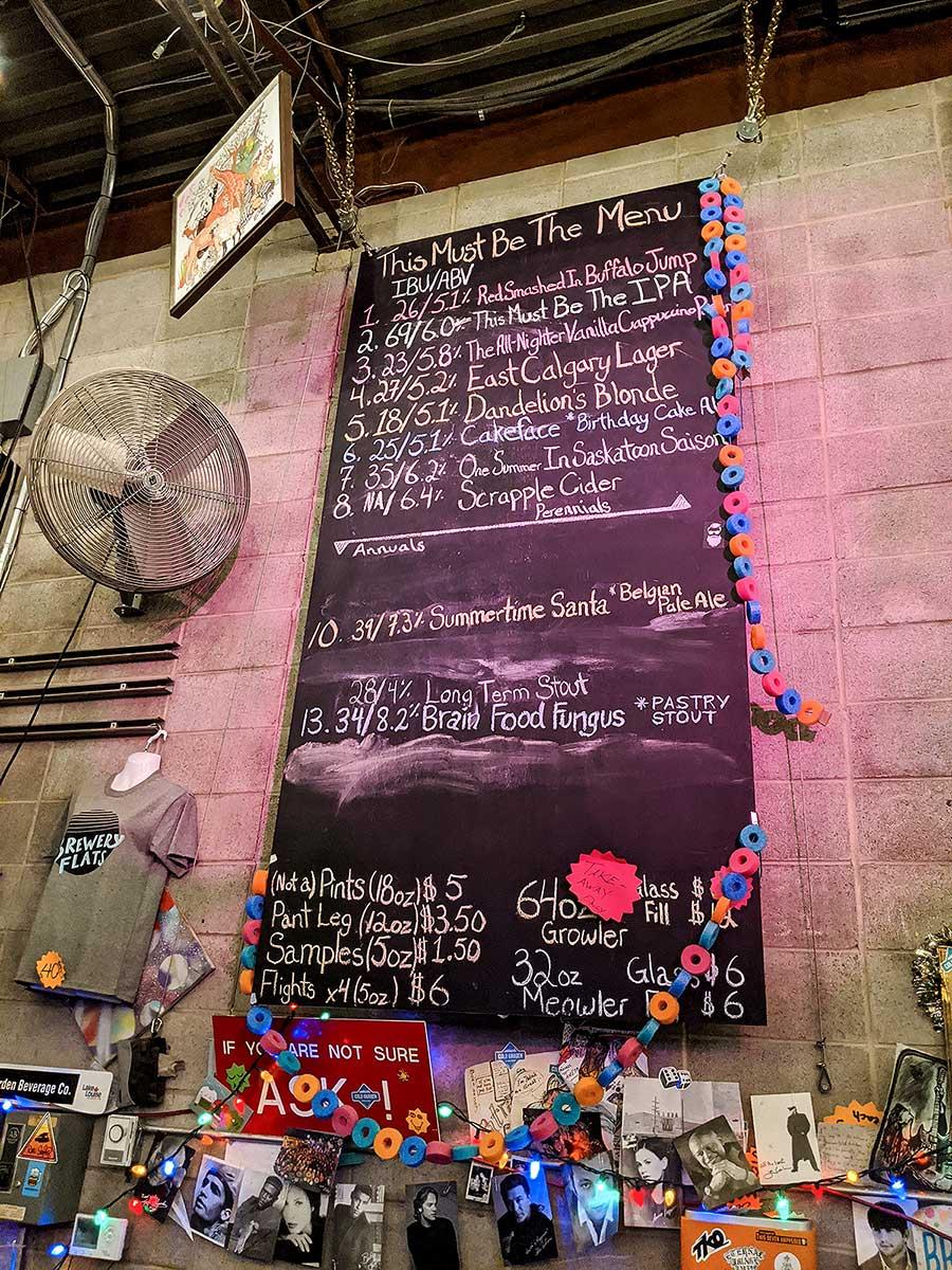 Cold Garden Beverage Company beer menu