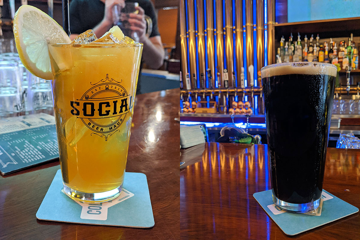 Social Beer Haus Southern Slush Cocktail and a beer from Blindman Brewing