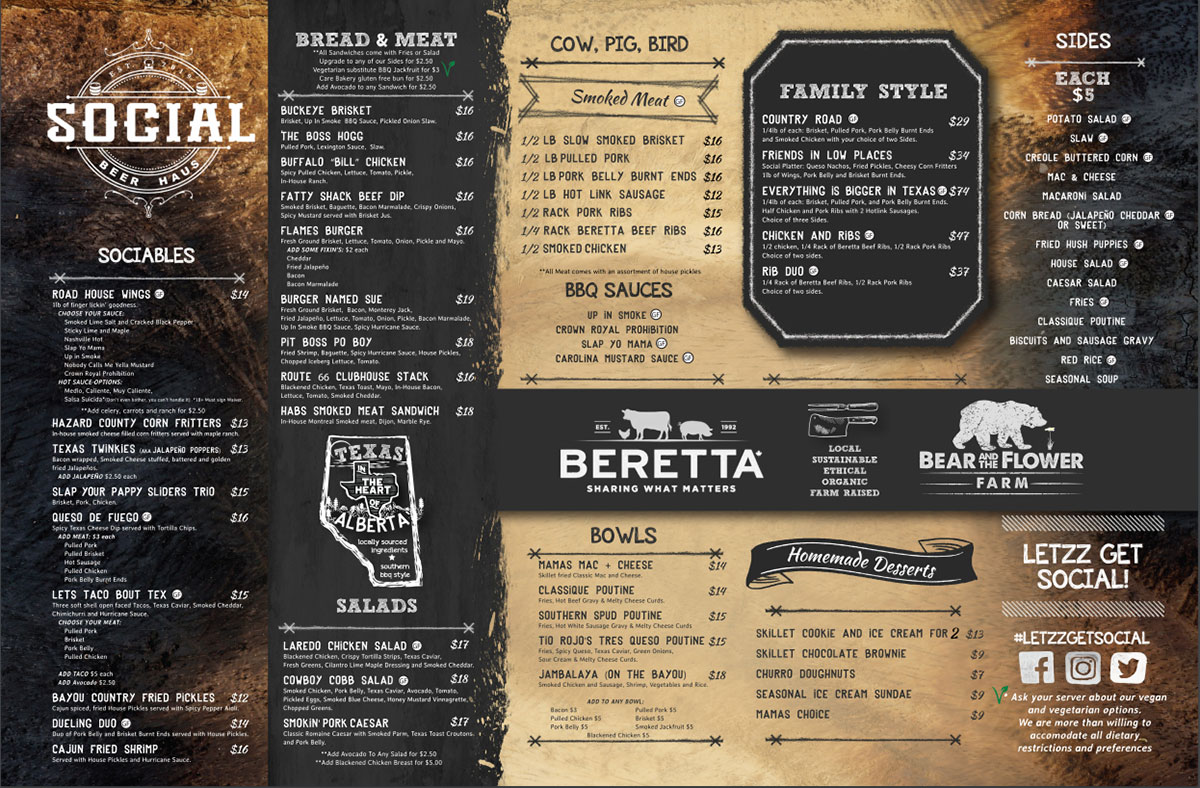Social Beer Haus Food Menu