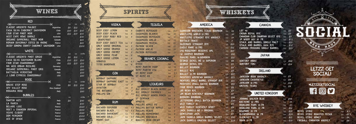 Social Beer Haus Wine Spirits Whiskey