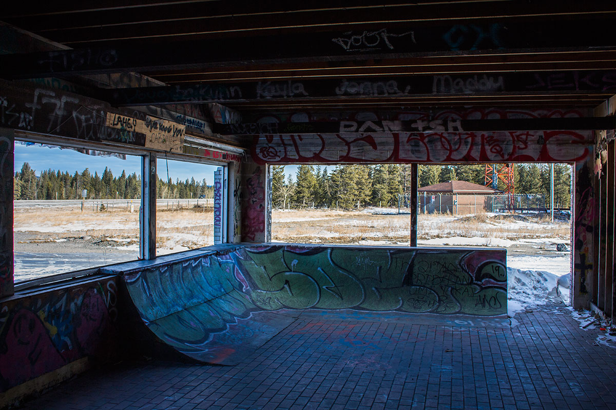 Fort Chiniki Abandoned Gas Station Between Canmore and Morley Alberta rollerblading skateboarding ramps custom built