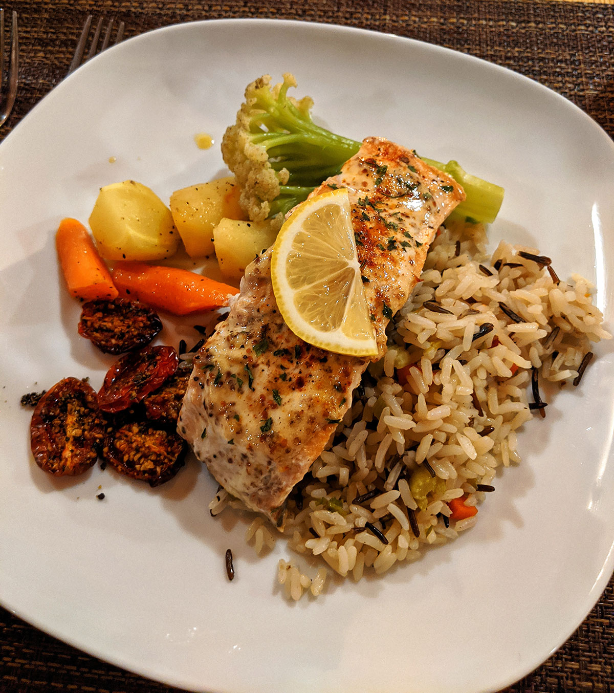 Mount Engadine Lodge Salmon for dinner with veggies and wild rice