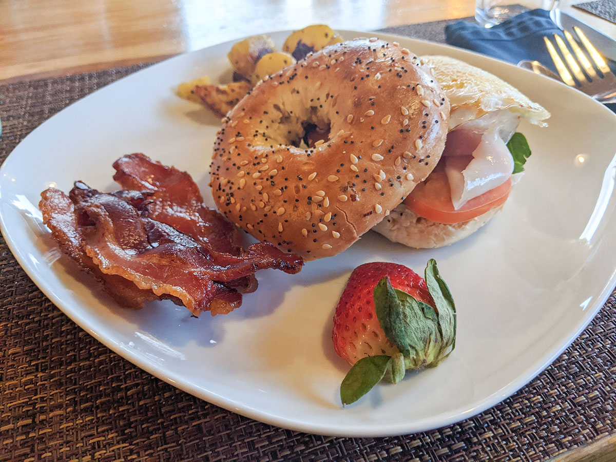 Mount Engadine Lodge breakfast bagel with bacon