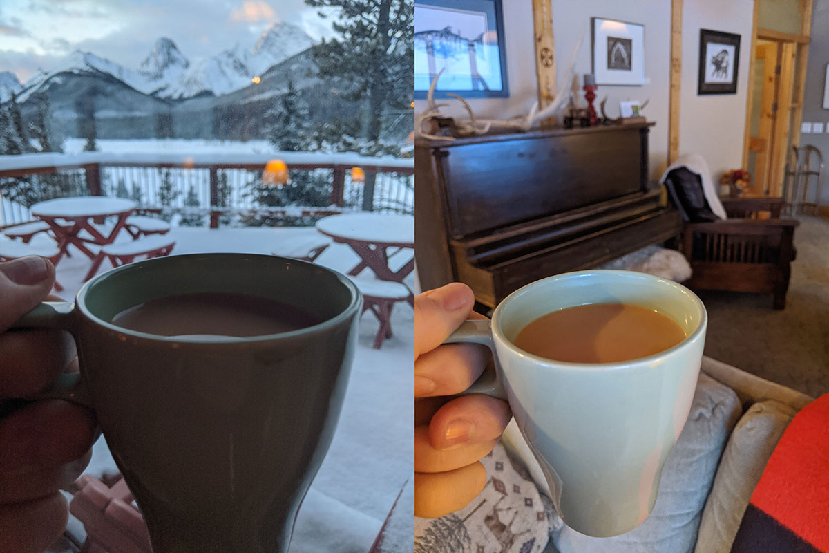 Mount Engadine Lodge coffee great views, and a piano you can use in the lodge