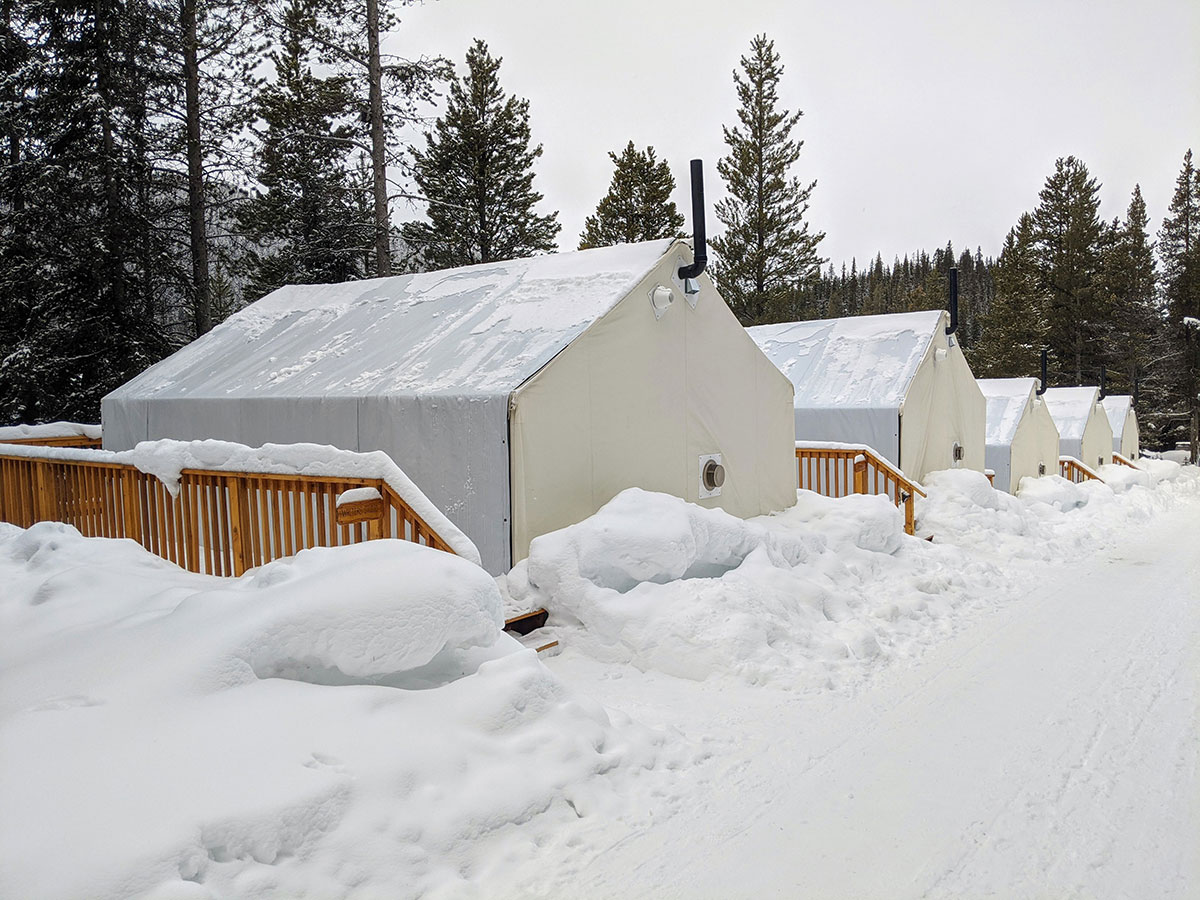 Mount Engadine Lodge glamping tents during the winter season
