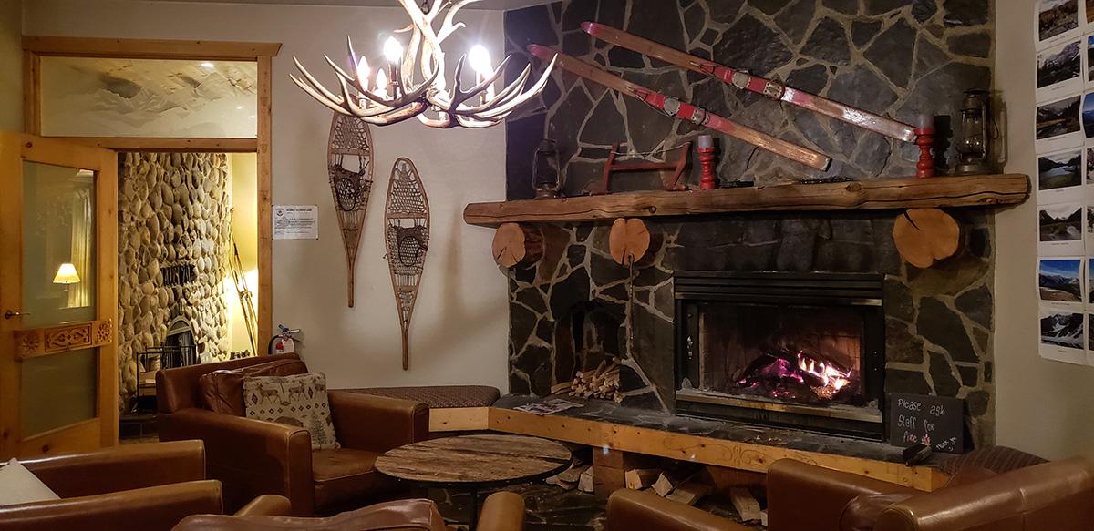 Mount Engadine Lodge fireplace main room