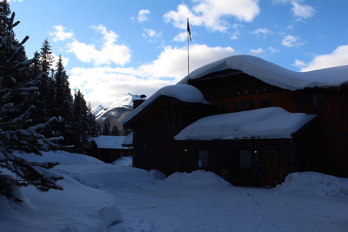 Mount Engadine Lodge sun going down in winter