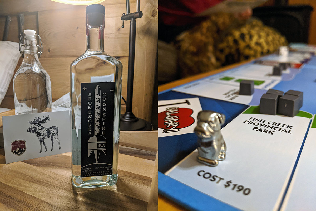 Mount Engadine Lodge skunkworks distillery moonshine and Calgaryopoly board game play with friends
