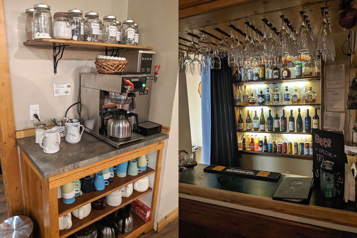 Mount Engadine Lodge coffee tea beer wine spirits and other drinks