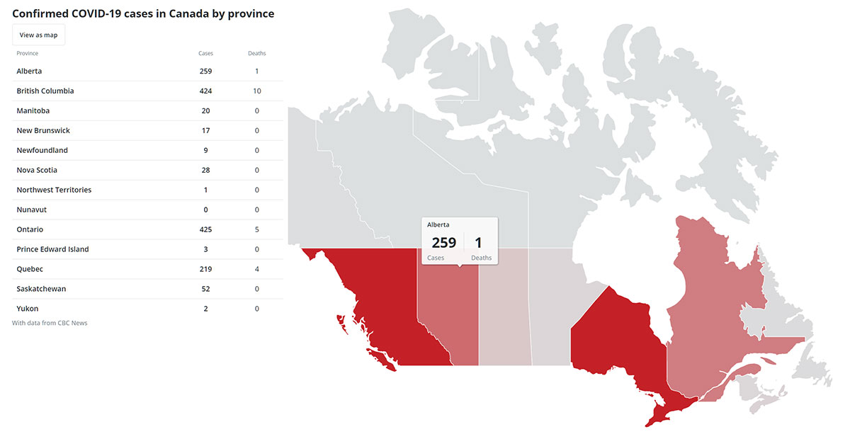 Resource Guide COVID-19 Coronavirus in Calgary CBC infection map