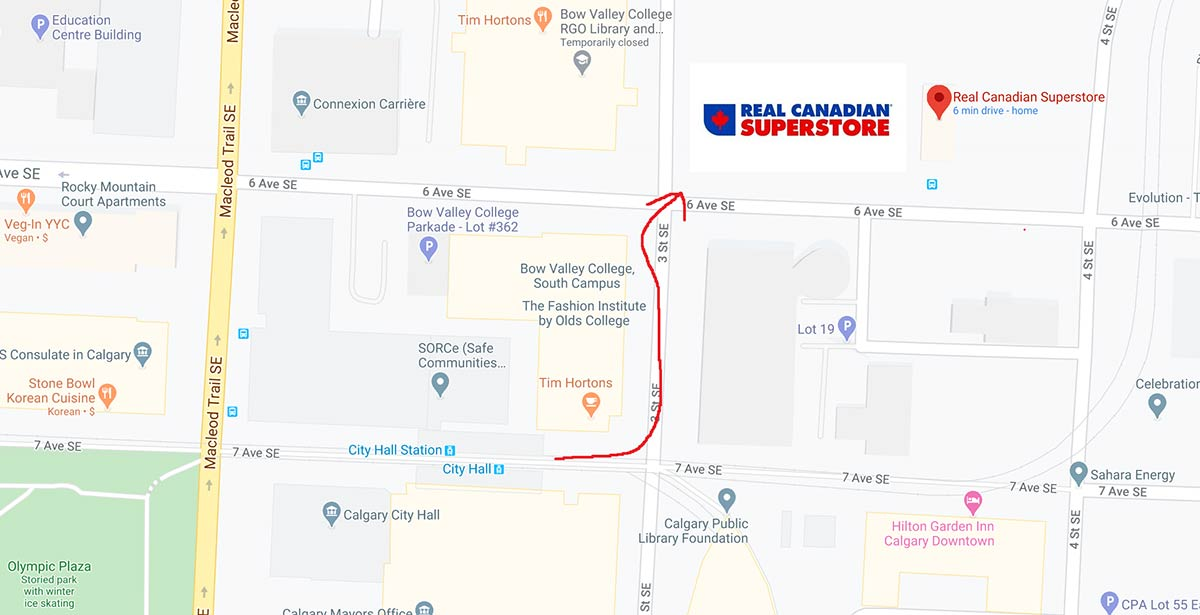 How To get to east village real Canadian superstore on foot and public transit