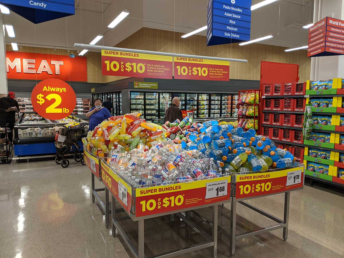 Real Canadian Superstore East Village in Calgary meat and 10 for $10 bundles