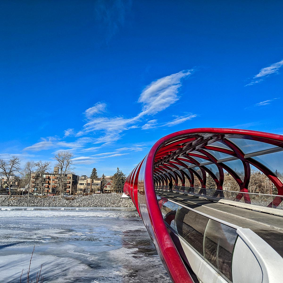 The Peace Bridge in Calgary above a frozen Bow River