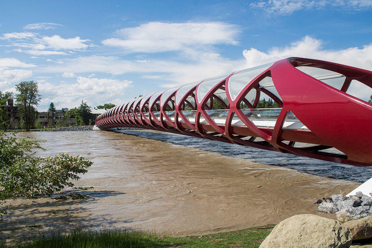 The Peace Bridge in Calgary during the 2013 floods