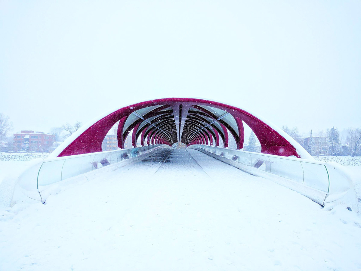 The Peace Bridge in Calgary during snowfall in winter