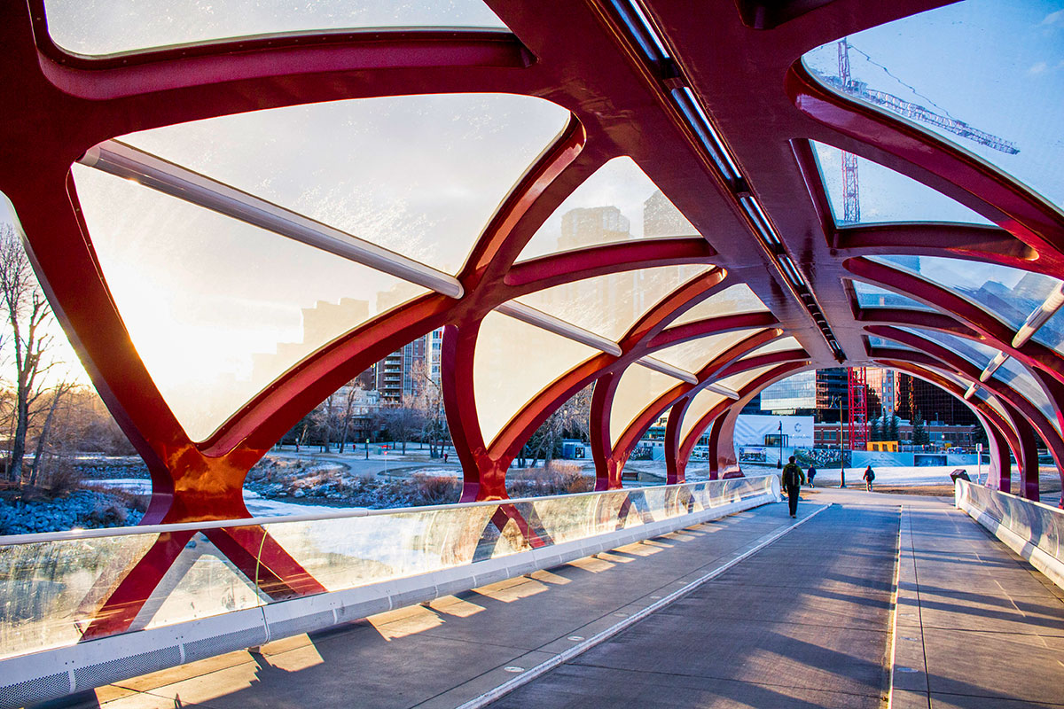 The Peace Bridge in Calgary sunrise