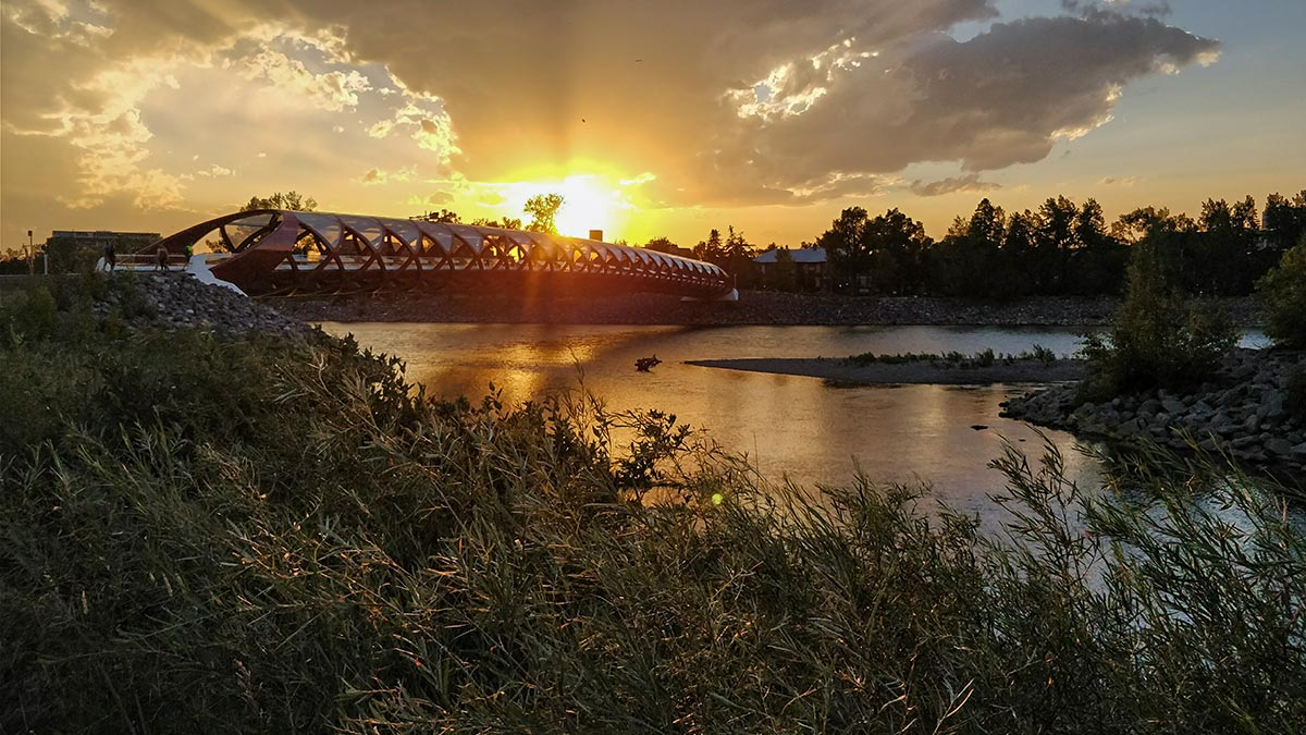 The Peace Bridge in Calgary sunset