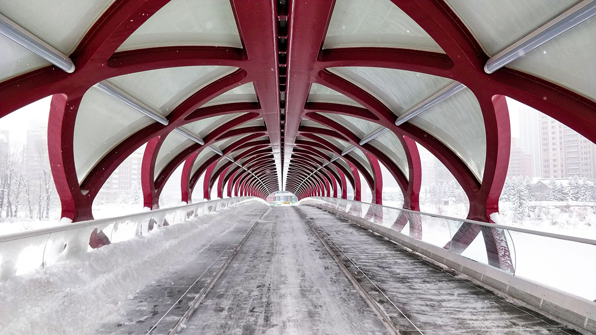 The Peace Bridge in Calgary on a chilly cold winter day with no people in sight