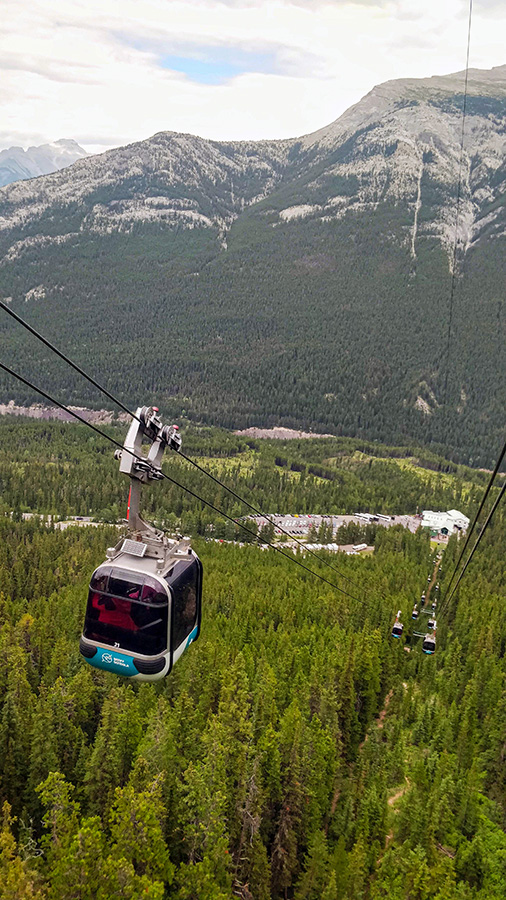 Guide To The Banff Gondola cable car overlooking the lower terminal and Rimrock Hotel