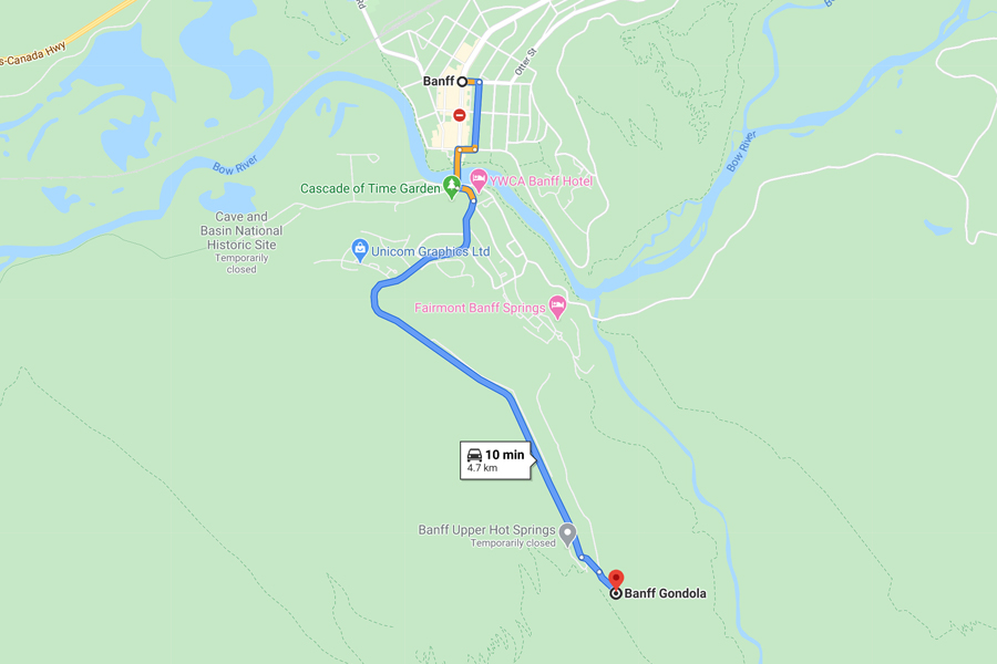 Guide To The Banff Gondola Driving Directions from downtown Banff Ave to The Gondola
