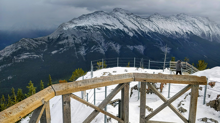 Guide To The Banff Gondola trail to Sanson's Peak, on top of Sulphur Mountain. Looking towards the Bow Valley mountain ranges