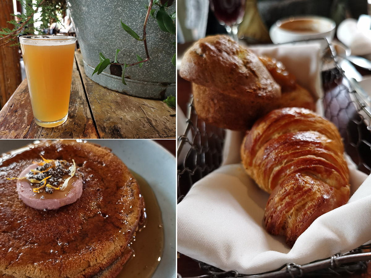 River Café at Prince's Island Park Food drinks beer - Cabin Brewing Super Saturation beer, Buckwheat Pancake, Pastry Trio