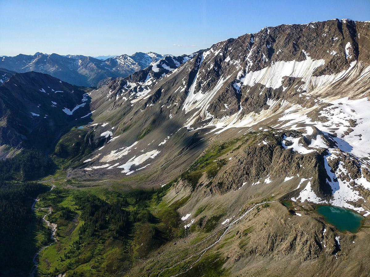 The view from the Alpine Helicopter, heading to Purcell Mountain Lodge in BC, Canada