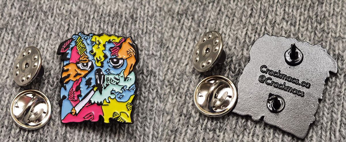 Crackmacs enamel pin, made and designed by Mr. Pin Man