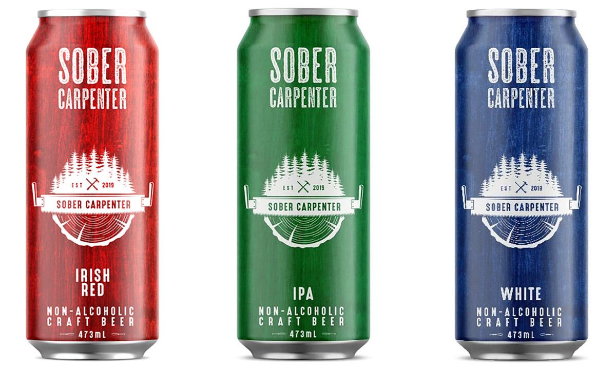 Sober Carptenter Non-Alcoholic Beer. Irish Red, IPA, White